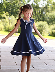 cheap -Kids Little Girls' Dress Striped Solid Color Skater Dress School Causal Bow Navy Blue Knee-length Cute Dresses Children's Day Summer Regular Fit 3-13 Years