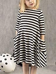 cheap -Kids Little Girls' Dress Striped Print Black Knee-length Long Sleeve Active Dresses Summer Regular Fit 5-12 Years