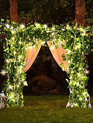 cheap -2M Artificial Silk Ivy Leaf Vine LED String Lights For Wedding Home Xmas Party Hanging Garland Flexible Holiday String AA Battery Power Warm White Lighting