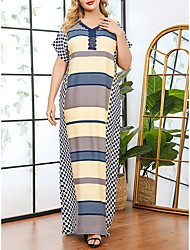 cheap -Women's Plus Size Geometric Print Casual Short Sleeve Spring & Summer Maxi long Dress Shift Dress Blue