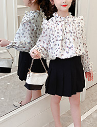 cheap -Kids Girls' Clothing Set Floral Long Sleeve Date White Sophisticated Regular