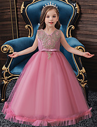 cheap -Ball Gown Floor Length Event / Party / Formal Evening Flower Girl Dresses - Lace / Satin / Polyester Sleeveless Jewel Neck with Sash / Ribbon / Embroidery