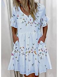 cheap -amazon aliexpress 2021 european and american cross-border women's fashion short print ruffled pocket dress women