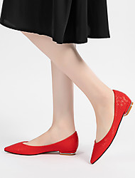 cheap -Women's Flats Flat Heel Pointed Toe Wedding Flats Faux Leather Solid Colored White Yellow Red