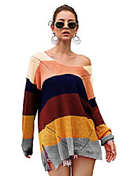 cheap -ladies sweater v-neck knitted sweater rainbow stripes sweater long sweatshirt oversized loose sweater tops (yellow, m)