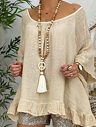 cheap -Women's Long Necklace Tassel Peace Sign European Folk Style Boho Crystal Wood Fabric White 100 cm Necklace Jewelry 1pc For Party Evening Street Prom Birthday Party Festival