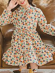 cheap -Kids Little Girls' Dress Flower Holiday Print Yellow Above Knee Long Sleeve Sweet Dresses Summer Regular Fit 3-13 Years