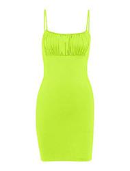 cheap -radish stars women's casual dress spaghetti straps sleeveless ruched stretchy bodycon mini dress summer fluorescent yellow