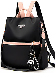 cheap -Women's Oxford Cloth Commuter Backpack Adjustable Large Capacity Zipper Solid Color Daily Wine Black