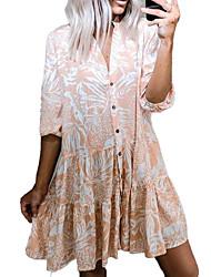 cheap -Women's Shirt Dress Knee Length Dress Blushing Pink Half Sleeve Floral Print Spring Summer Formal Loose 2021 S M L XL XXL 3XL / Cotton / Cotton