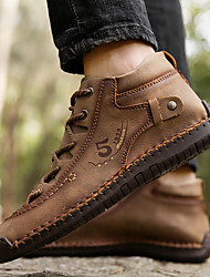 cheap -Men's Sneakers Crochet Leather Shoes Combat Boots Sporty Casual Beach Athletic Outdoor Walking Shoes Trail Running Shoes Nappa Leather Cowhide Breathable Handmade Non-slipping Booties / Ankle Boots