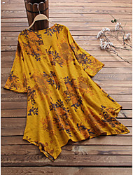 cheap -Women's Plus Size Dress A Line Dress Short Mini Dress Short Sleeve Floral Casual Summer Yellow Green L XL 2XL 3XL 4XL / V Neck
