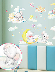 cheap -Cartoon Moon Elephant Bear Children's Room Bedroom Porch Kindergarten Wall Background Decoration Can Be Removed Wall Stickers