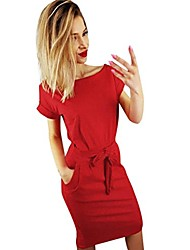 cheap -dongdong❣ women's 1950s vintage short sleeve pleated pencil dress d- red