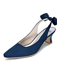 cheap -Women's Wedding Shoes Block Heel Square Toe Satin Bowknot Solid Colored White Black Purple