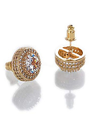 cheap -18k gold plated copper cz iced out hypoallergenic stud earring for men and women hip hop street-wear rapper earring dating fashion party (rose gold)