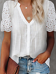cheap -Women's Going out Blouse Eyelet top Plain Lace Patchwork V Neck Elegant Casual Tops Blue Gray White
