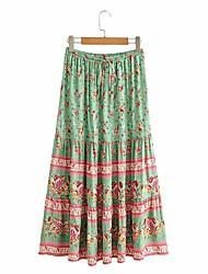 cheap -Women's Holiday Vacation Vintage Boho Skirts Floral Graphic Ruffle Print Blushing Pink Green