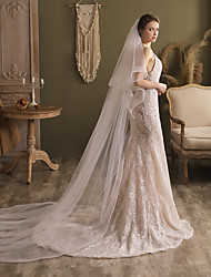 cheap -Two-tier Elegant & Luxurious Wedding Veil Cathedral Veils with Solid Tulle