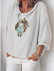 cheap -Women's Plus Size Tops Blouse Shirt Graphic Owl Long Sleeve Blue Gray White Big Size L XL XXL XXXL 4XL