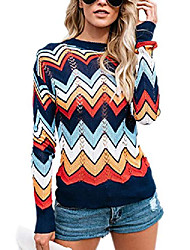 cheap -ladies sweater stripes knitted sweater irregular colorful knitted jumper long sleeve casual sweatshirt fit women tops tops autumn winter