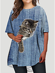 cheap -Women's Plus Size Cat Graphic Animal Print Basic Half Sleeve Fall Short Mini Dress T Shirt Dress Tee Dress Blue Sky Blue