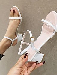 cheap -Women's Heels High Heel Open Toe Wedding Pumps PVC Buckle Solid Colored White Green / Booties / Ankle Boots