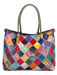 cheap -cross-border hot-selling women's bags in contrasting colors, snake-print bright leather, hand-stitched color crossbody bags, women's leather shoulder bags