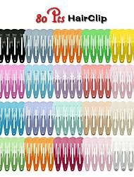 cheap -Children's Color Drop-shaped 18-color 80pcs 5cm Paint Hairpin Side Clip Bangs Clip Set