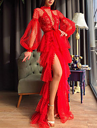 cheap -Sheath / Column Empire Sexy Party Wear Prom Valentine's Day Dress High Neck Long Sleeve Floor Length Lace with Split Tier 2021
