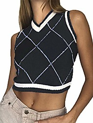cheap -women streetwear v neck sleeveless preppy style knitwear tank crop top argyle sweater vest spring waistcoat clothes (black#2, s)
