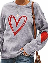 cheap -grenf women's casual patchwork sweatshirt tops, women long sleeve cute heart print sweater loose pullover, gary, small