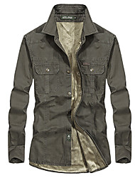 cheap -Men's Hiking Jacket Hiking Shirt / Button Down Shirts Long Sleeve Shirt Coat Top Outdoor Quick Dry Lightweight Breathable Sweat wicking Autumn / Fall Spring Summer khaki off-white Army Green Hunting