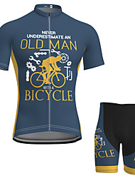 cheap -21Grams Old Man Men's Short Sleeve Cycling Jersey with Shorts Summer Spandex Polyester Light Yellow Yellow Blue Bike Clothing Suit 3D Pad Quick Dry Moisture Wicking Breathable Sports Graphic
