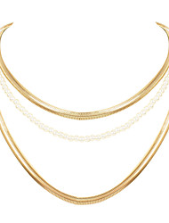 cheap -pearl necklace alloy multi-layer fishbone chain fashion street jewelry