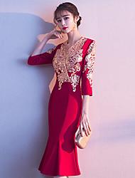 economico -abito da sposa rosso vino brindisi femminile 2020 nuovo banchetto temperamento coda di pesce abito da sposa sposa sottile di media lunghezza estate