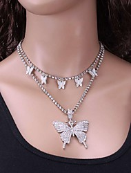 cheap -simple diamond-studded chain necklace female full diamond butterfly set necklace