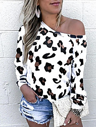 cheap -Women's T shirt Leopard Cheetah Print Long Sleeve Print Off Shoulder Tops Basic Basic Top White