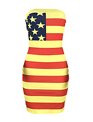 cheap -ld98052 2020 summer new product european and american hot style american flag sexy print wrapped chest striped dress