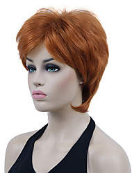 cheap -Short Layered Light Auburn Thick Fluffy Full Synthetic Wig