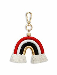 cheap -zoonai weaving rainbow tassel charm keychain car keyring holder bag wallet purse decorations for women girls (z-red)
