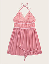 cheap -Women's Women Female Normal Backless Lace Sexy Robes Sexy Wedding Lingerie - Spandex Party Evening Date Solid Colored Robes Pink XL XXL XXXL