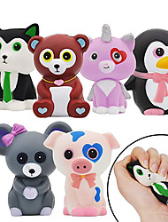 cheap -6 Pack Jumbo Size Squishy Animal Toy Slow Rising Stress Relief Super Soft Squeeze Kawaii Animal Friends Toys