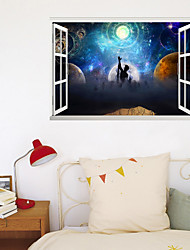 cheap -3D False Window Moon Interstellar Pursuit Home Background Decoration Can Be Removed Stickers