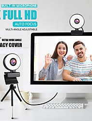 cheap -Webcam Mini Web Camera For Computer Laptop With Microphone Ring Light Video Webcam 1080P 2K Live Broadcast Auto Focus Web Cam 1K Version