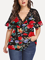 cheap -Women's Plus Size Lace Patchwork Floral Graphic Blouse Large Size V Neck Short Sleeve Hawaiian Tops XL XXL 3XL Red Big Size