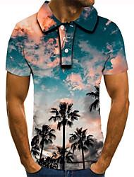 cheap -Men's Golf Shirt Tennis Shirt 3D Print Scenery Graphic Prints Coconut Tree Button-Down Short Sleeve Street Tops Casual Fashion Cool Blue / Sports