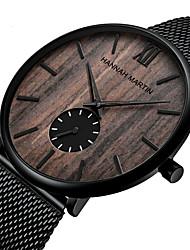 cheap -HANNA MARTIN men's wood bamboo watch stainless steel mesh strap watch