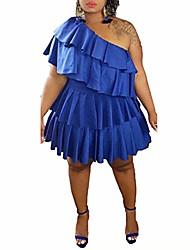 cheap -iymoo women's off shoulder strapless ruffle mini plus size swing dresses blue 5x-large