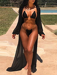 cheap -Women's Three Piece Swimsuit Push Up Solid Color Black Blushing Pink Green Swimwear Padded Crop Top Bathing Suits New Casual Sexy